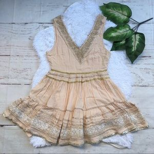 Free People Embroidered V-neck Tank XS
